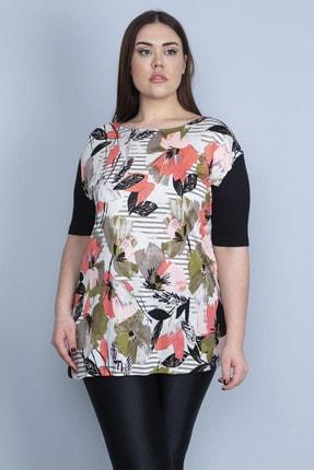 Şans Kadın Siyah Önü Çiçek Desenli Viskon Bluz 65N23110 1