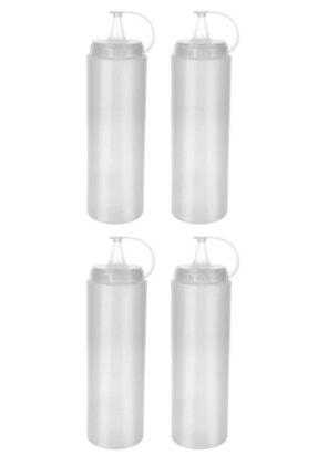 Lira 4 Adet Şeffaf Plastik Sosluk Ketçap Mayonez Sos Şişesi 0