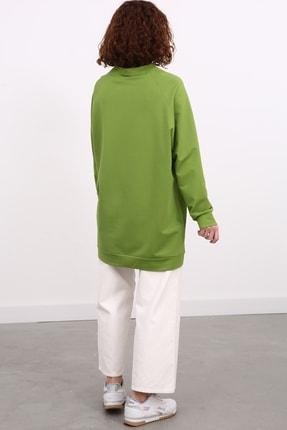 Ekrumoda Kadın Fıstık Yeşili Reglan Kol Basic Sweat Tunik 4