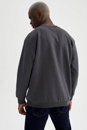 Defacto Erkek Gri Oversize Fit Bisiklet Yaka Basic Sweatshirt 3