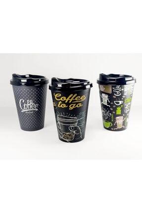 HOBBY LİFE 3'lü Plastik Kapaklı Kahve Bardağı (450ml) 0