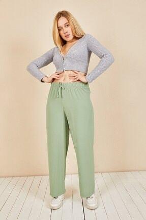 Moda Bu Kadın Mint Beli Lastikli Bol Paça Salaş Yazlık Pantolon Aerobin-865829 3