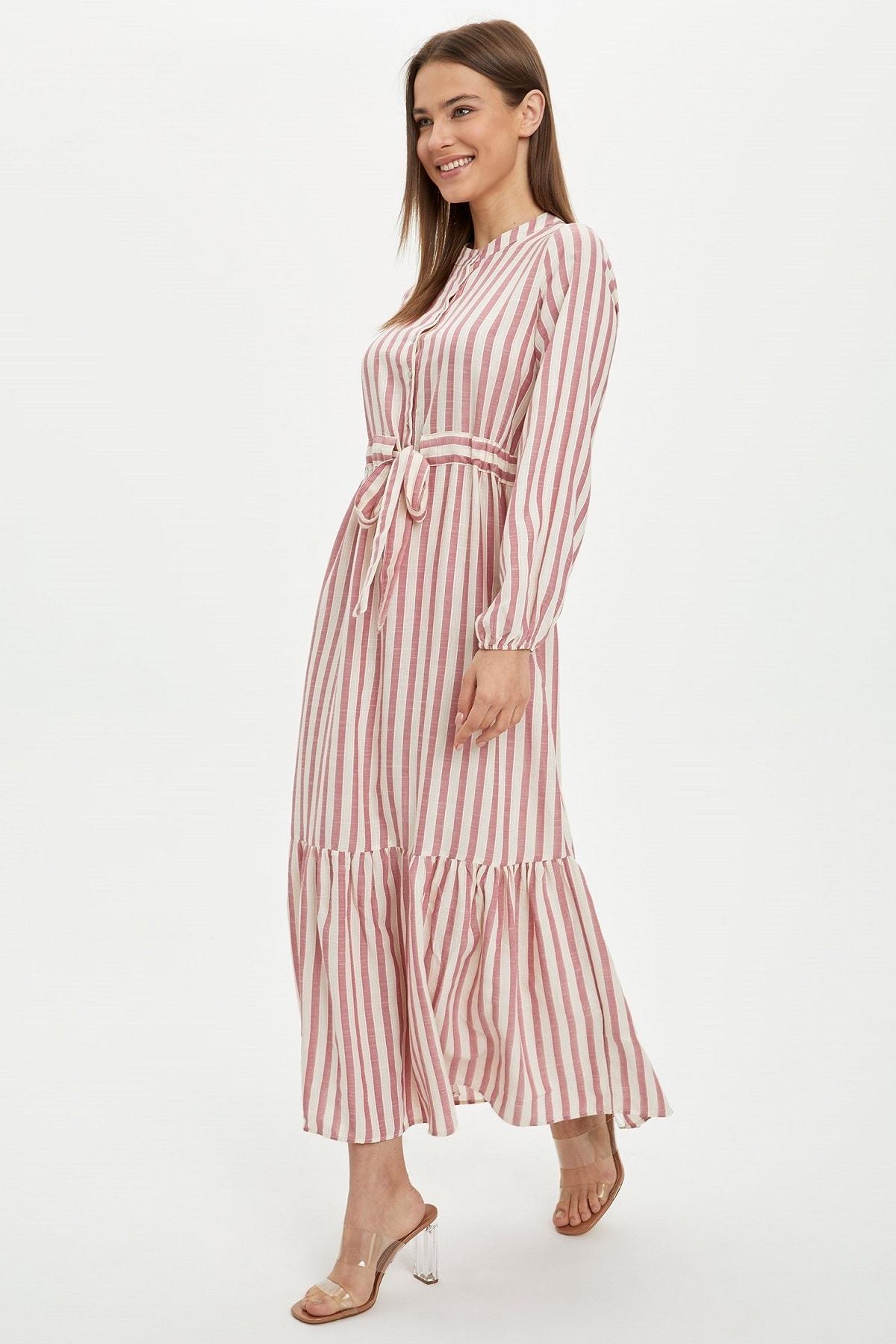 Kadın Modest Pembe Relax Fit Dokuma Elbise R3191AZ.20SM.PN345