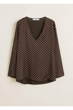 تصویر از Kadın Kahverengi V Yakalı Saten Gömlek