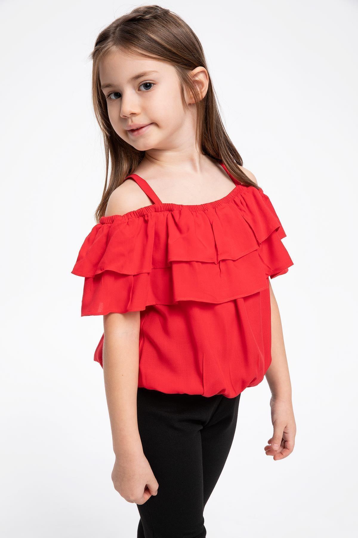 Kırmızı Kız Çocuk Lastikli Askılı Fırfırlı 23 Nisan Bluz