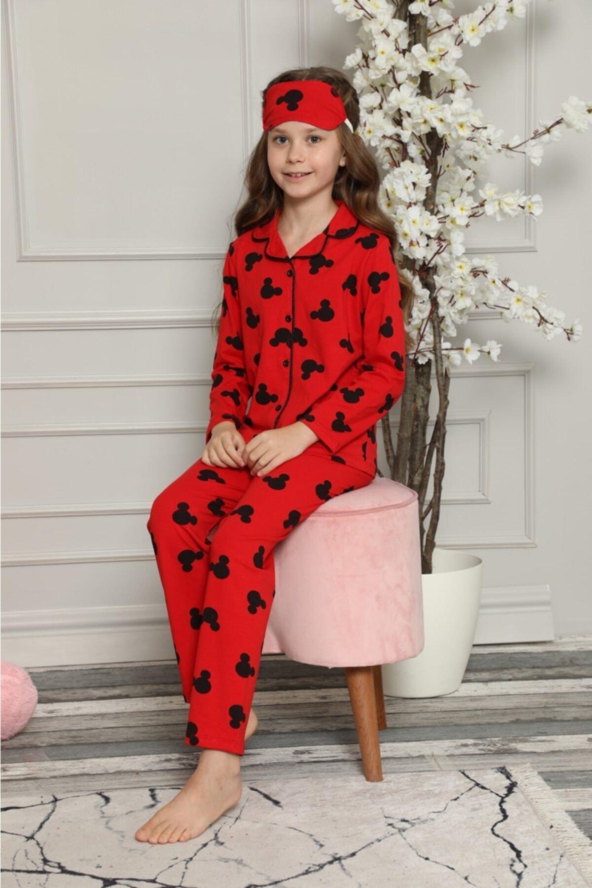 Kız Çocuk Mickey Desenli Pijama Takımı Göz Bandı Dahildir Yeni Sezon Kırmızı Renk