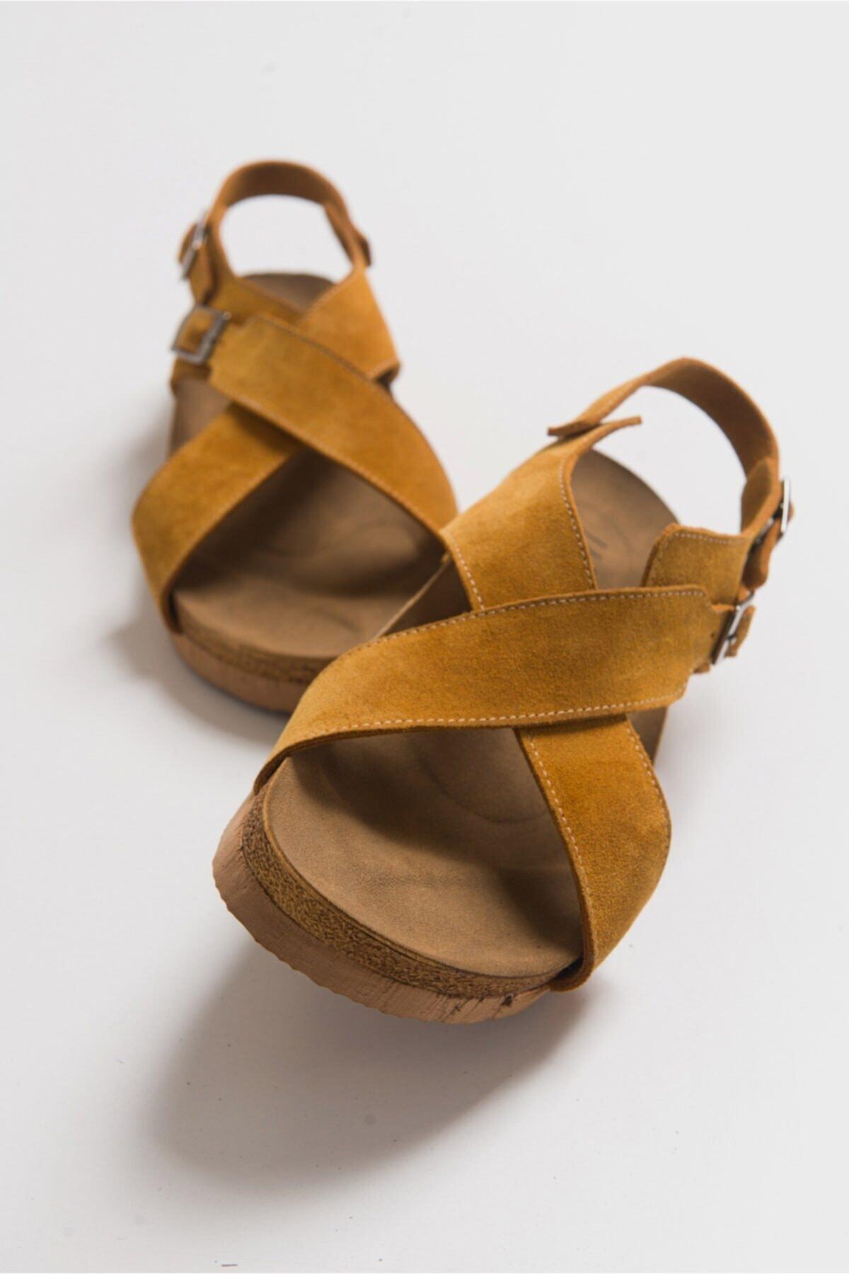 201 Hakiki Deri Hardal Süet Kadın Sandalet