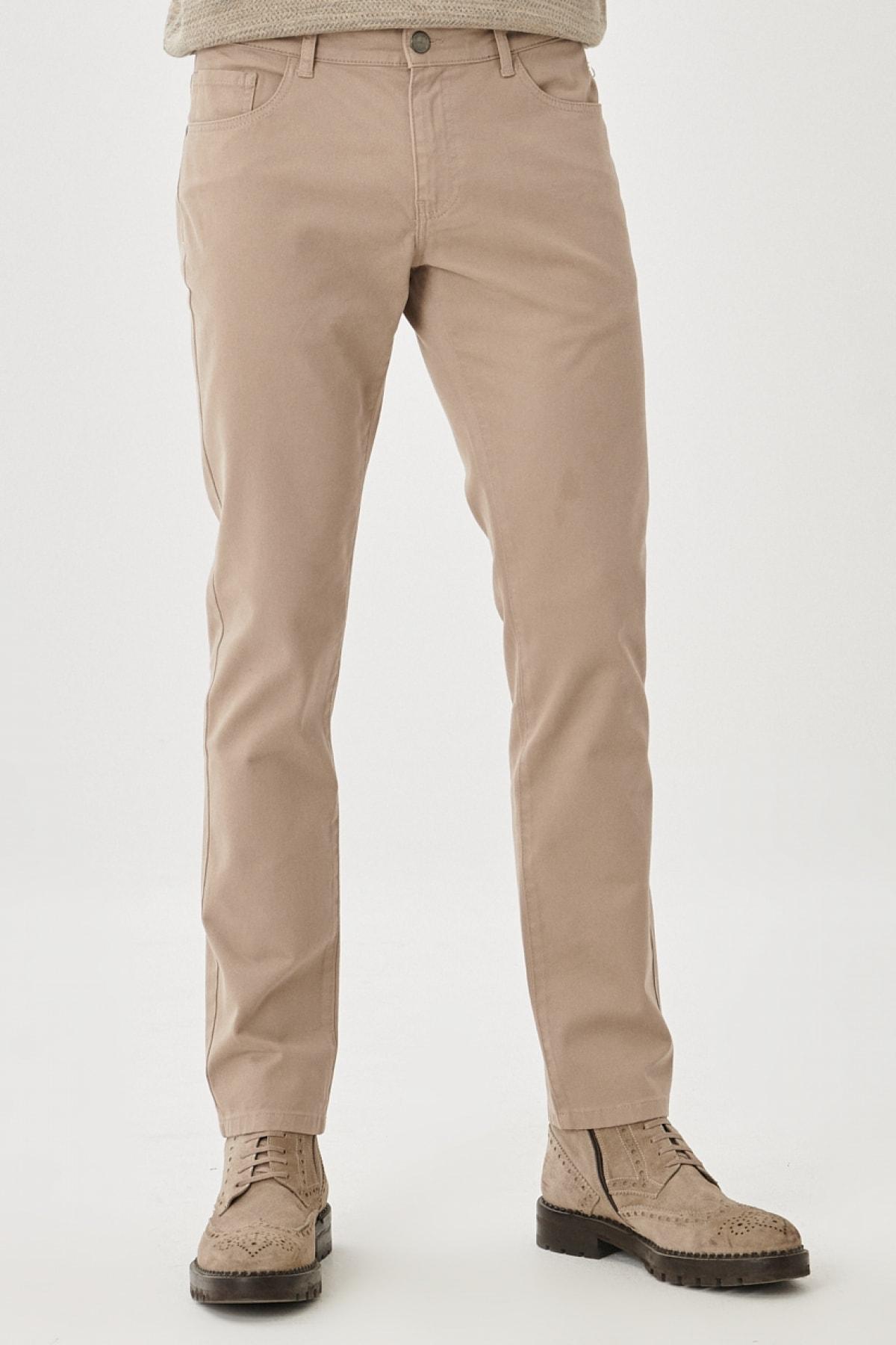 Erkek Bej Kanvas Slim Fit Dar Kesim 5 Cep Pantolon