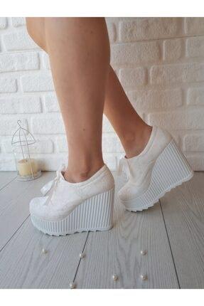 Kadin Beyaz Dolgu Topuk 11 Cm Gelin Ayakkabisi Modavien710s