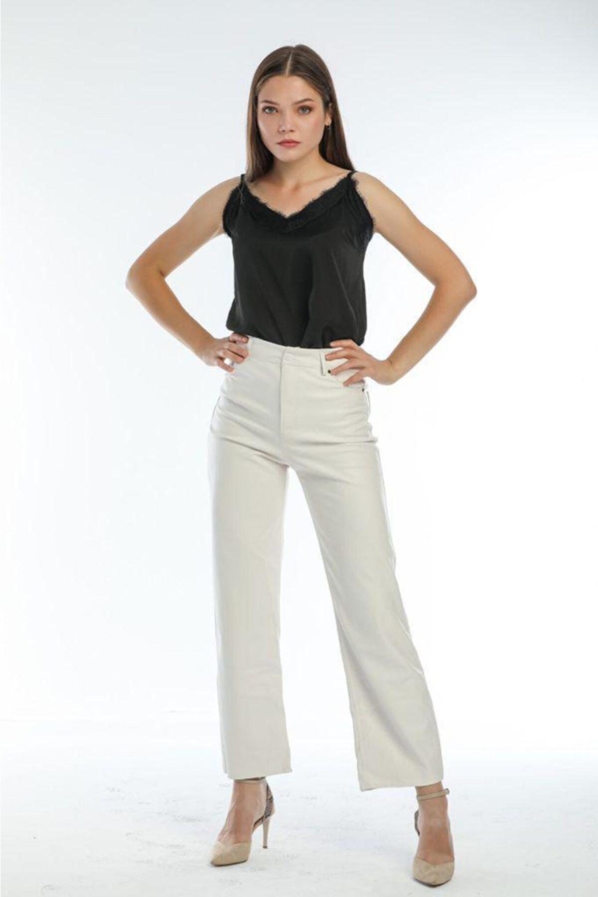Kadın Beyaz Deri Pantolon