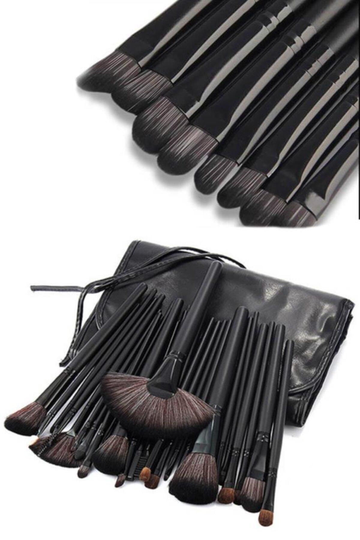 24'lü Profesyonel Makyaj Fırça Seti Siyah Renk
