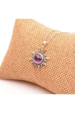 Ametist Taşı Gümüş Kolye - Güneş Şeklinde Kolye ametist güneş kolye