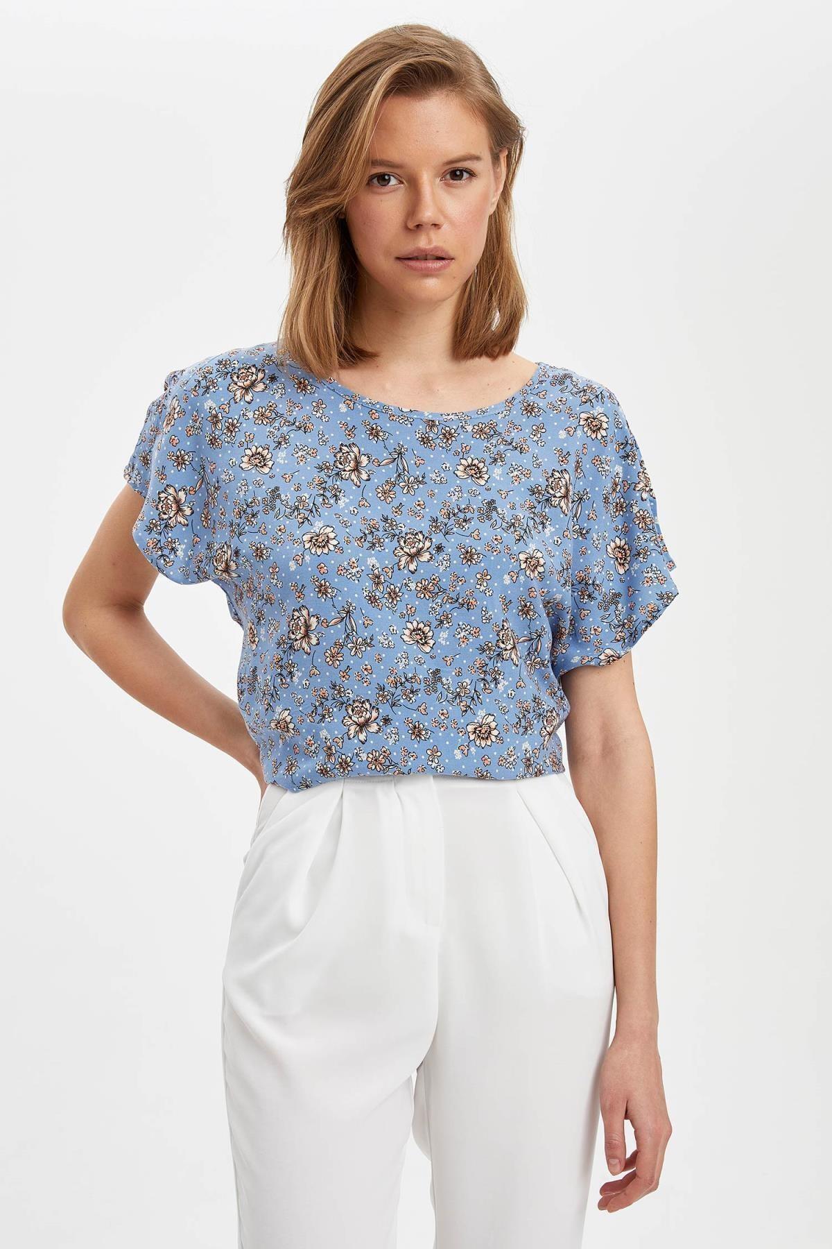 Kadın Mavi Regular Fit Kısa Kollu Bluz N5527AZ.20SP.BE419