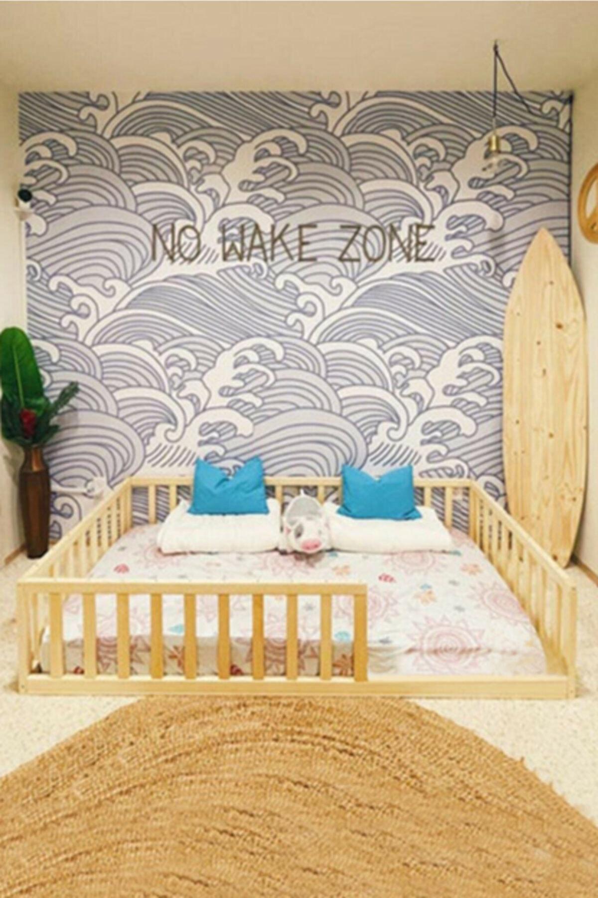 Montessori Bebek Ve Çocuk Karyolası Unisex Doğal Ahşap Yatak