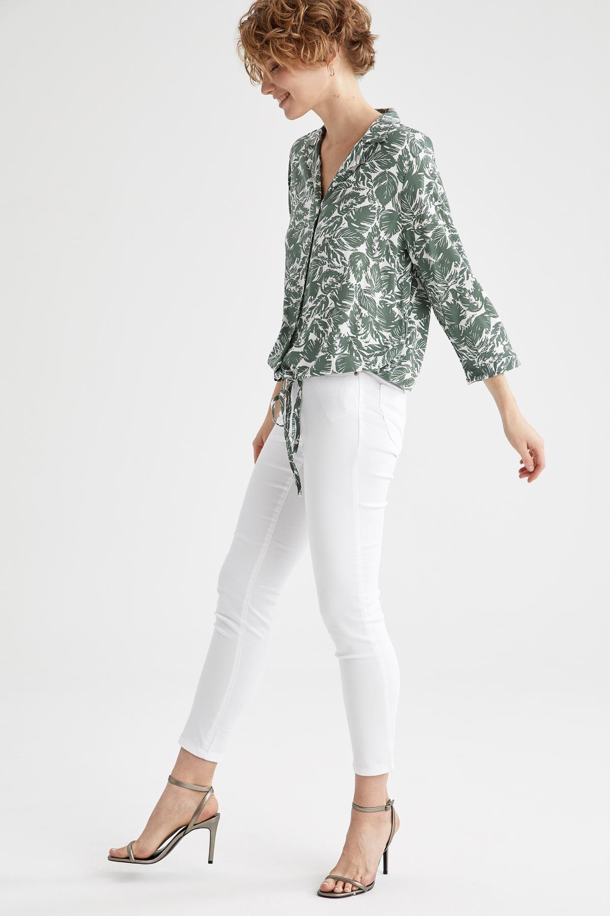 Kadın Beyaz Rebeca Skinny Fit Dokuma Pantolon M0649AZ21SPWT