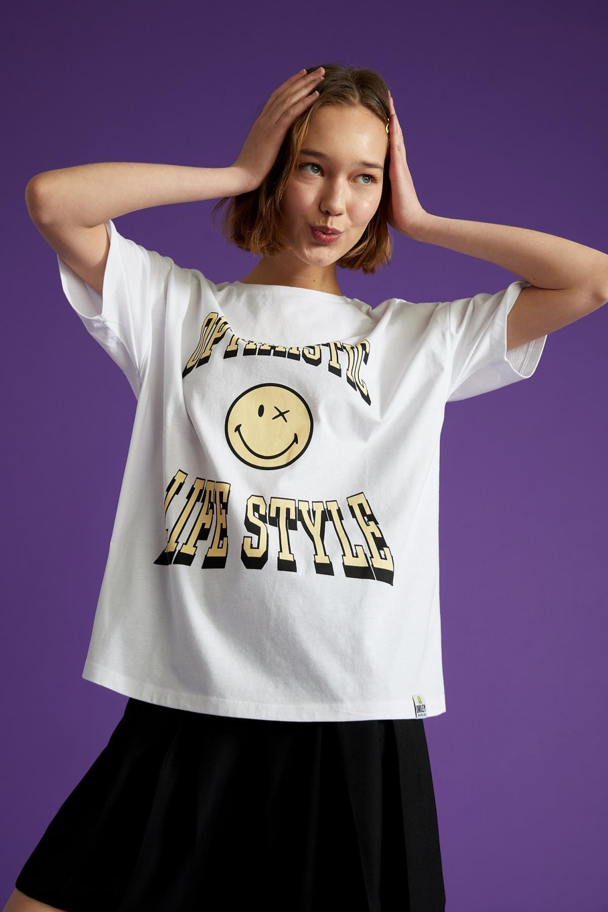 Kadın Beyaz Coool Smileyworld Lisanslı Relax Fit Kısa Kollu Tişört U2755AZ21SP