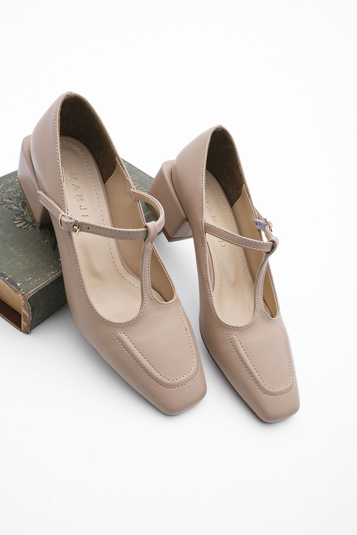 Kadın Günlük Klasik Topuklu Ayakkabı Panribej