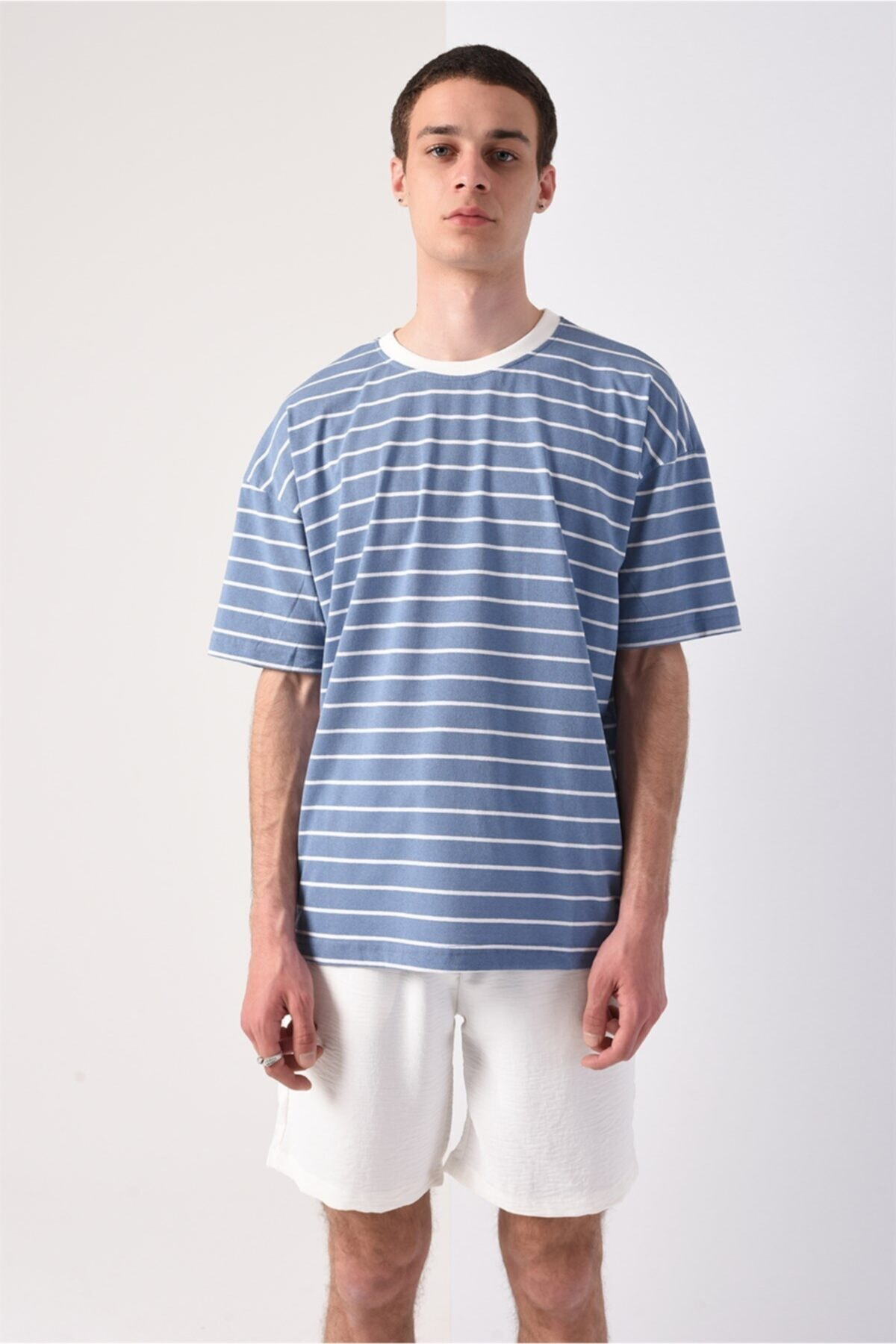Men Mavi Oversize Çizgili T-shirt