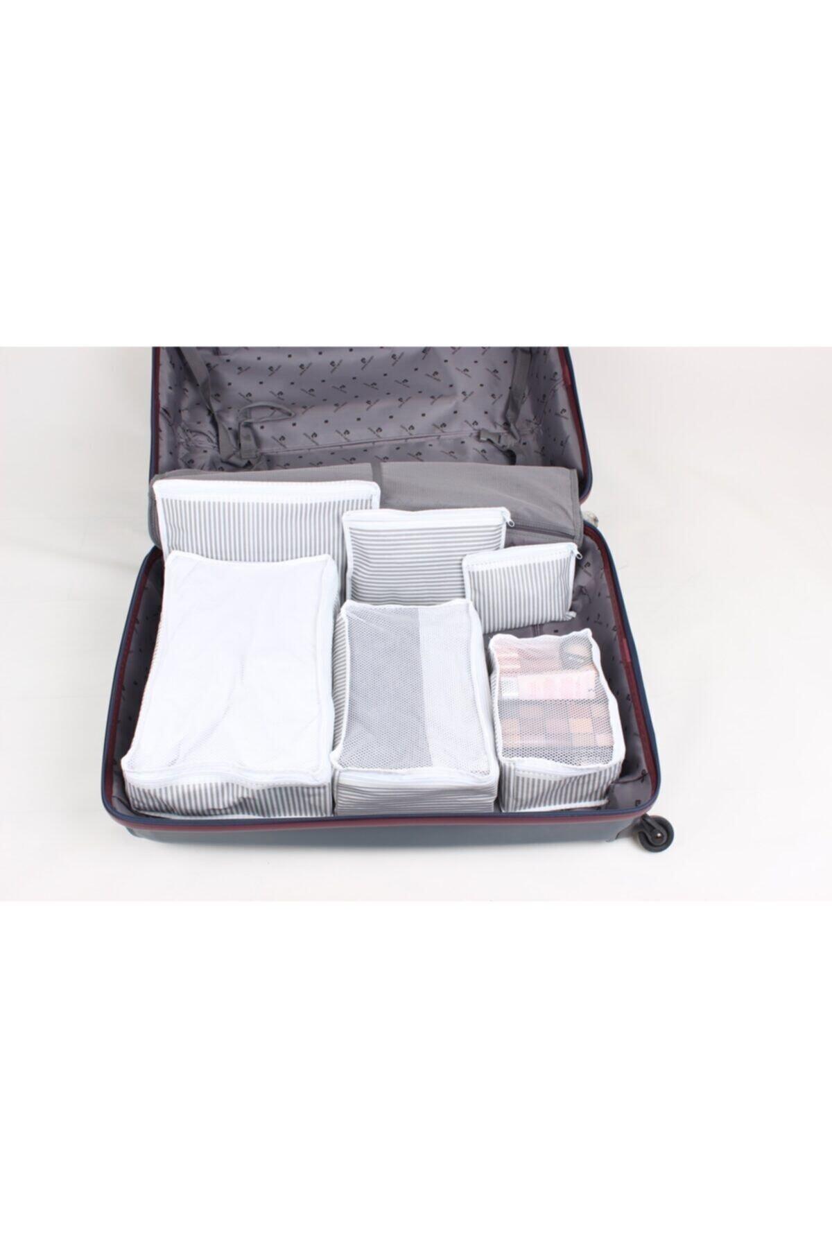 6 Parça Bavul Içi Düzenleyici Organizer Gri Çizgilii