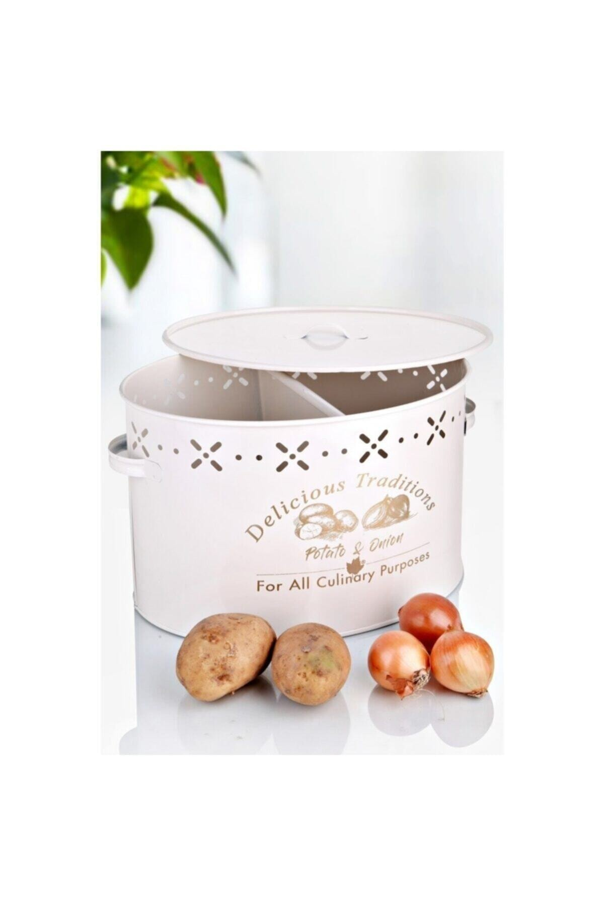 2 Bölmeli Metal Patates Soğan Kovası Krem 18 Lt