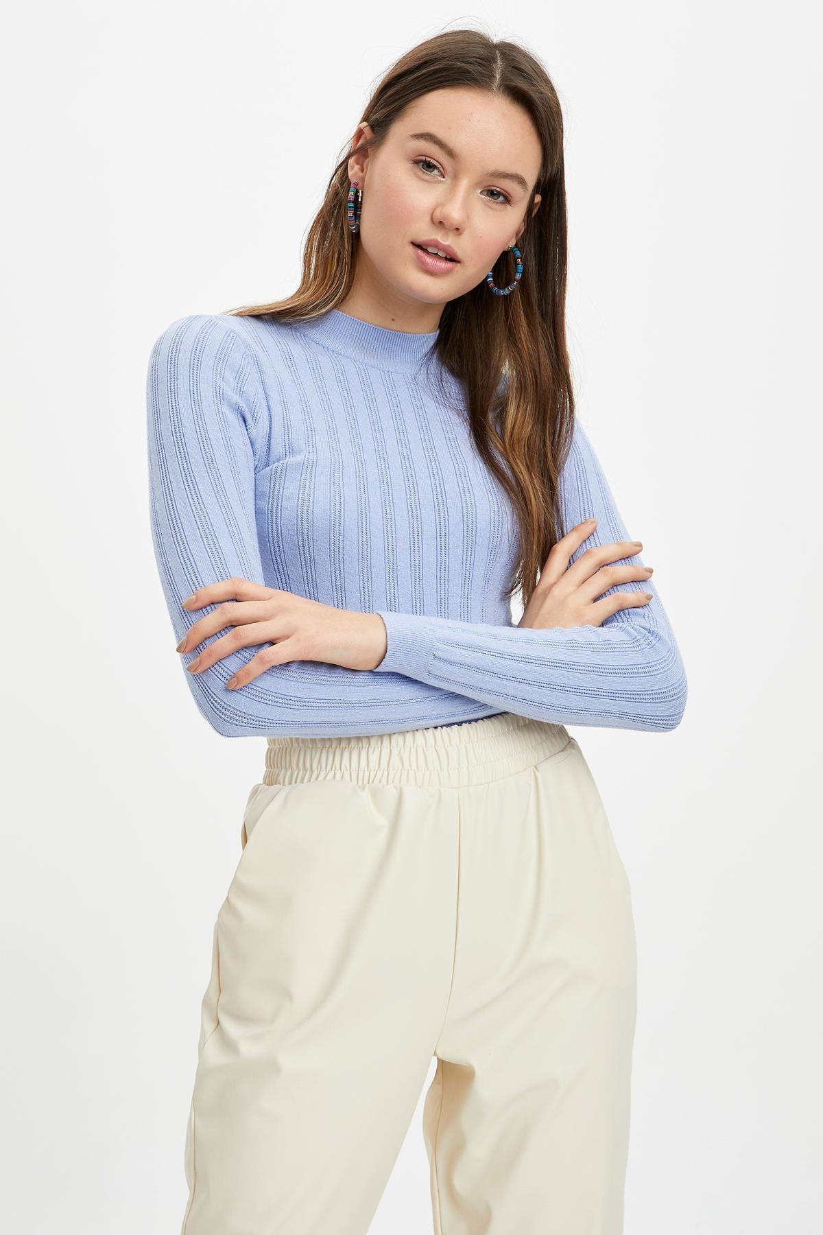 Kadın Mavi Slim Fit Triko Kazak N6780AZ.20SP.BE554