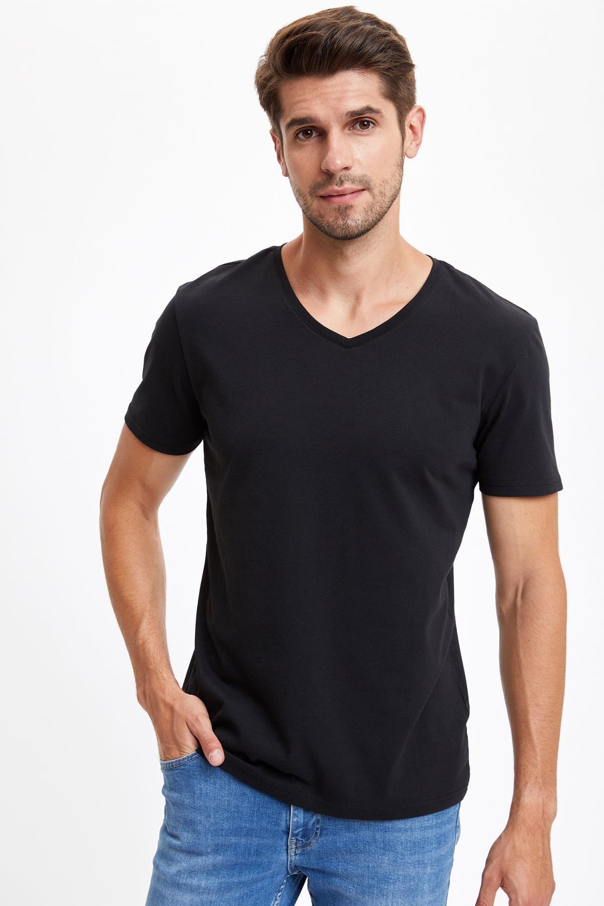 Erkek Siyah Slim Fit V Yaka Basic Siyah Tişört S3930AZ20SMBK