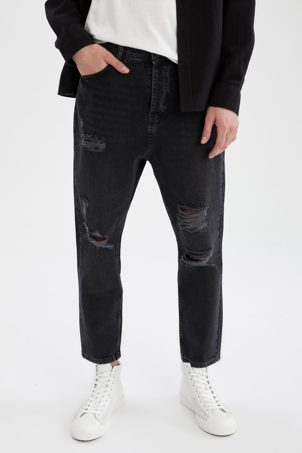 Erkek Siyah Loose Fit Normal Bel Boru Paça Siyah Jean Pantolon U5157AZ21SMNM