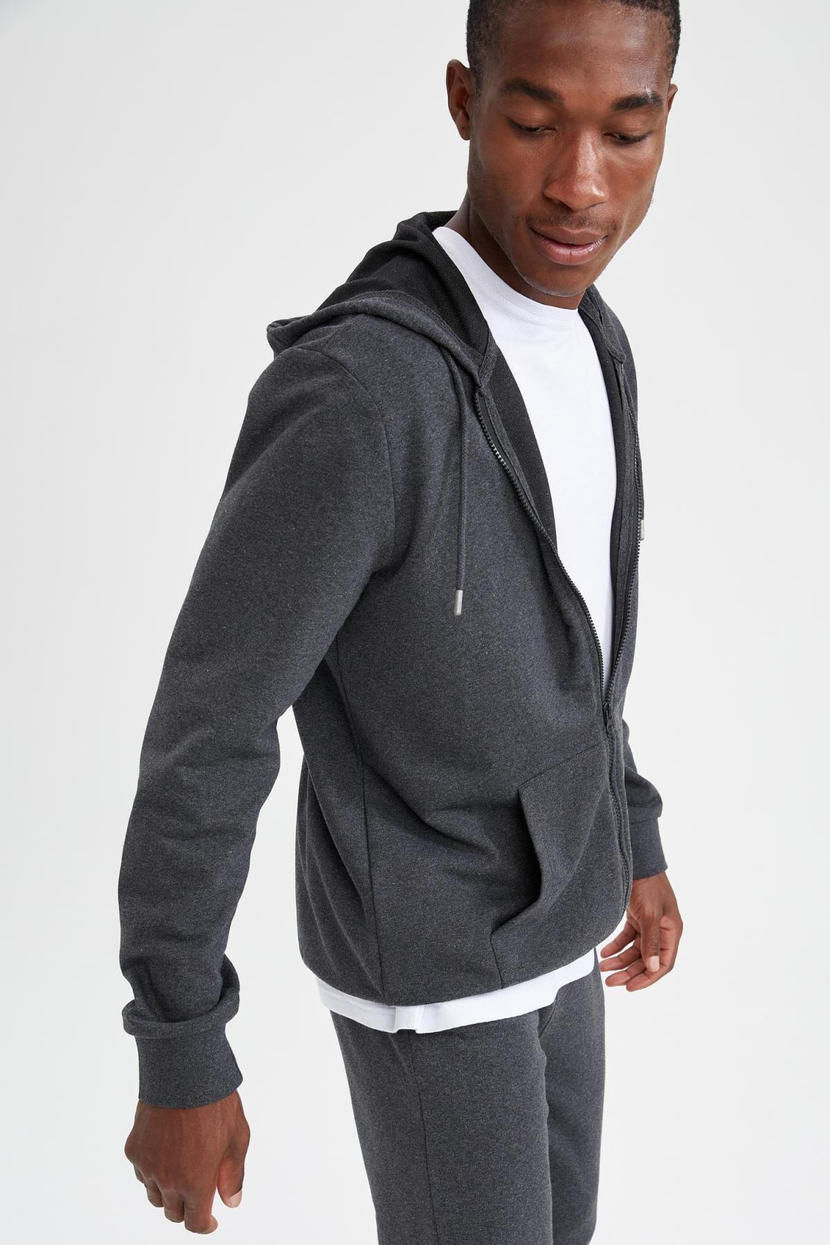 Erkek Antrasit Regular Fit Kapüşonlu Fermuarlı Sweatshirt T0092AZ21AUAR