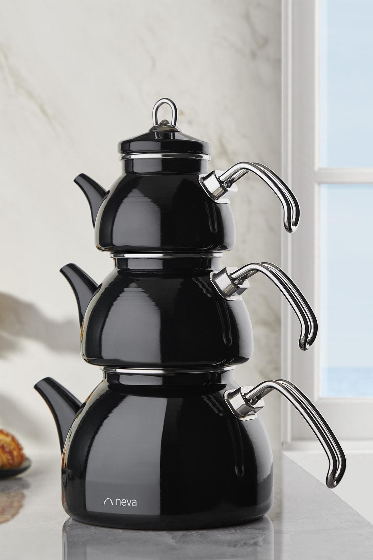 Nv10021 Siyah Emaye 3 Katlı Çaydanlık Takımı