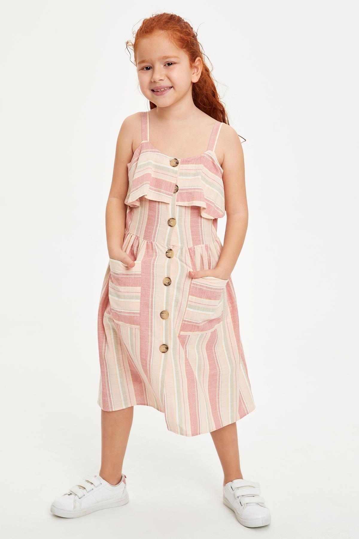Kız Çocuk Çizgili Düğmeli Dokuma Elbise