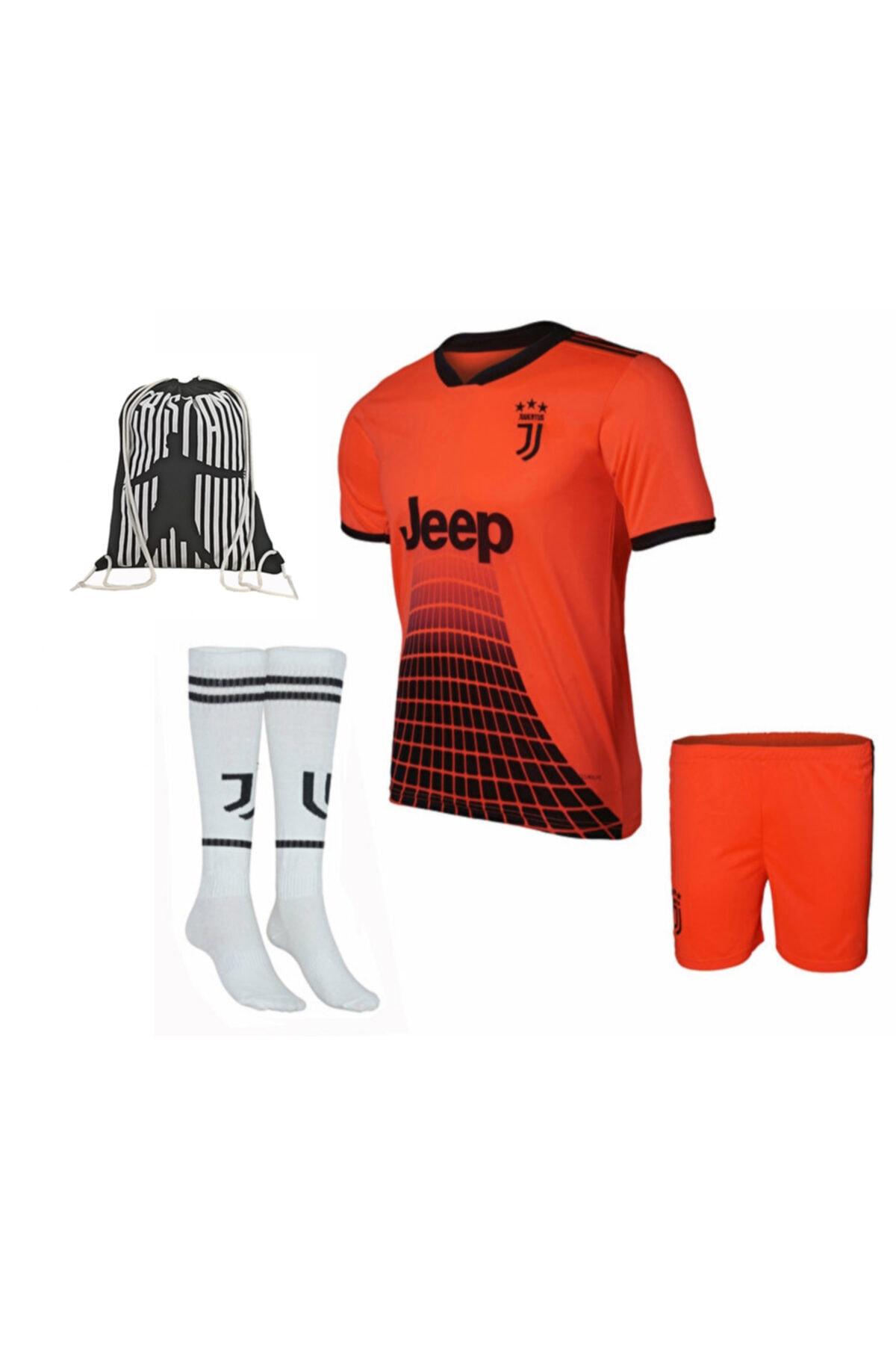 Juventus Ronaldo Çocuk Forma Şort Çorap Ve Çanta Floresan Oranj
