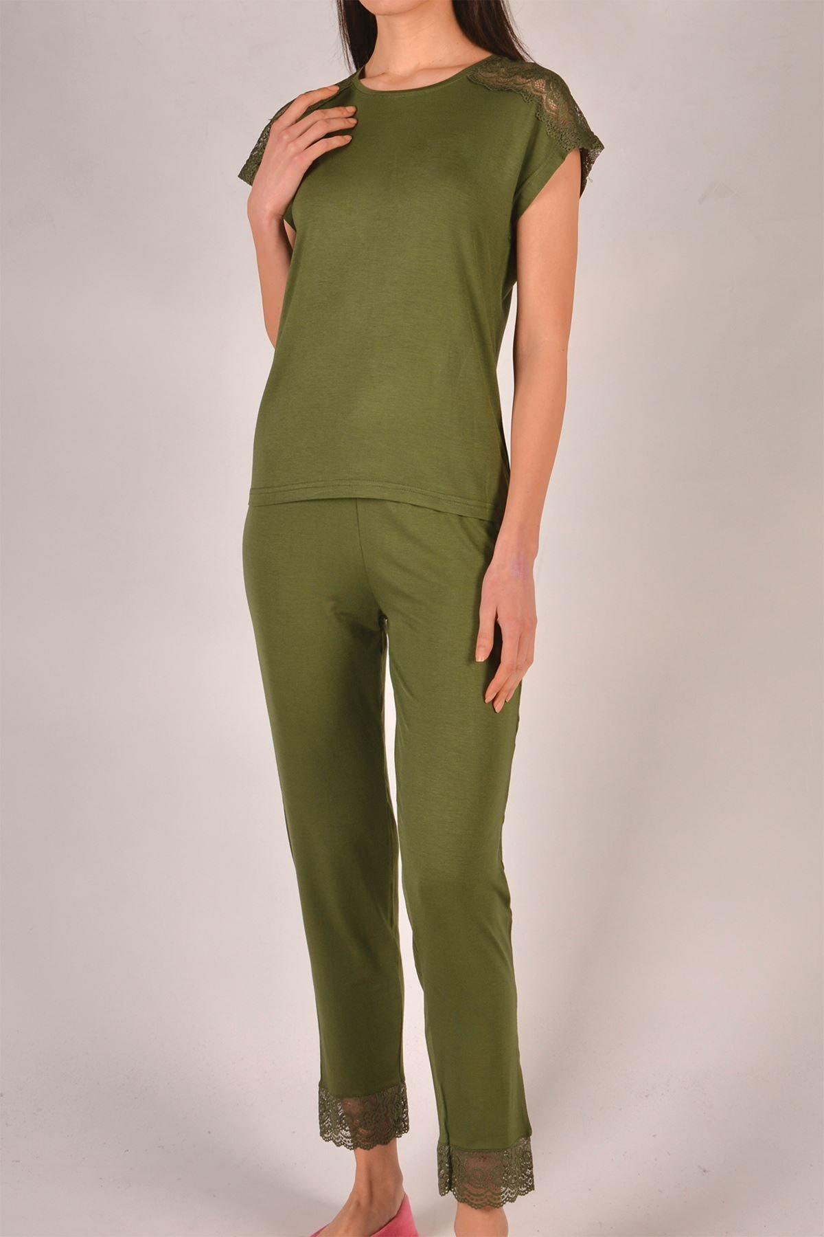 Yeşil Kadın Pijama Takımı Kısa Kollu Cepli Likralı