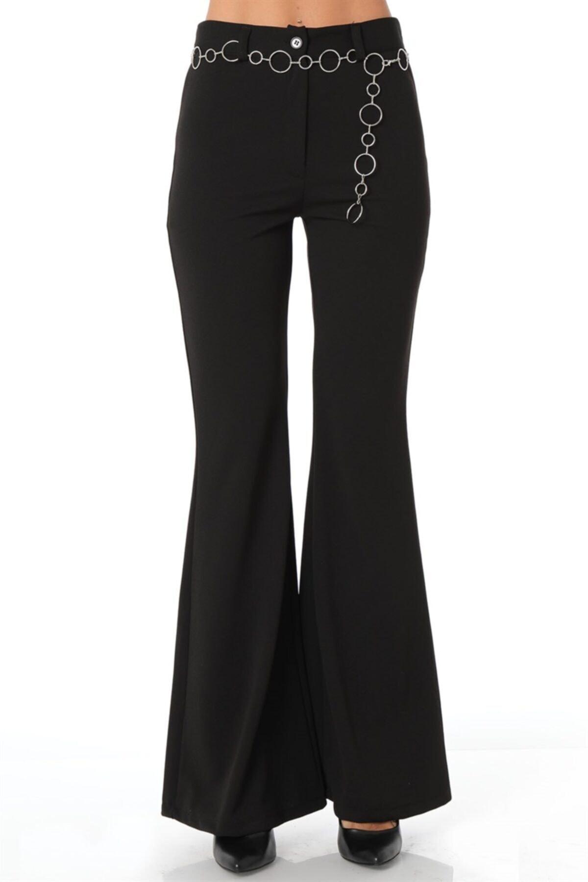 Ispanyol Paça Zincir Aksesuarlı Kumaş Pantolon - Siyah