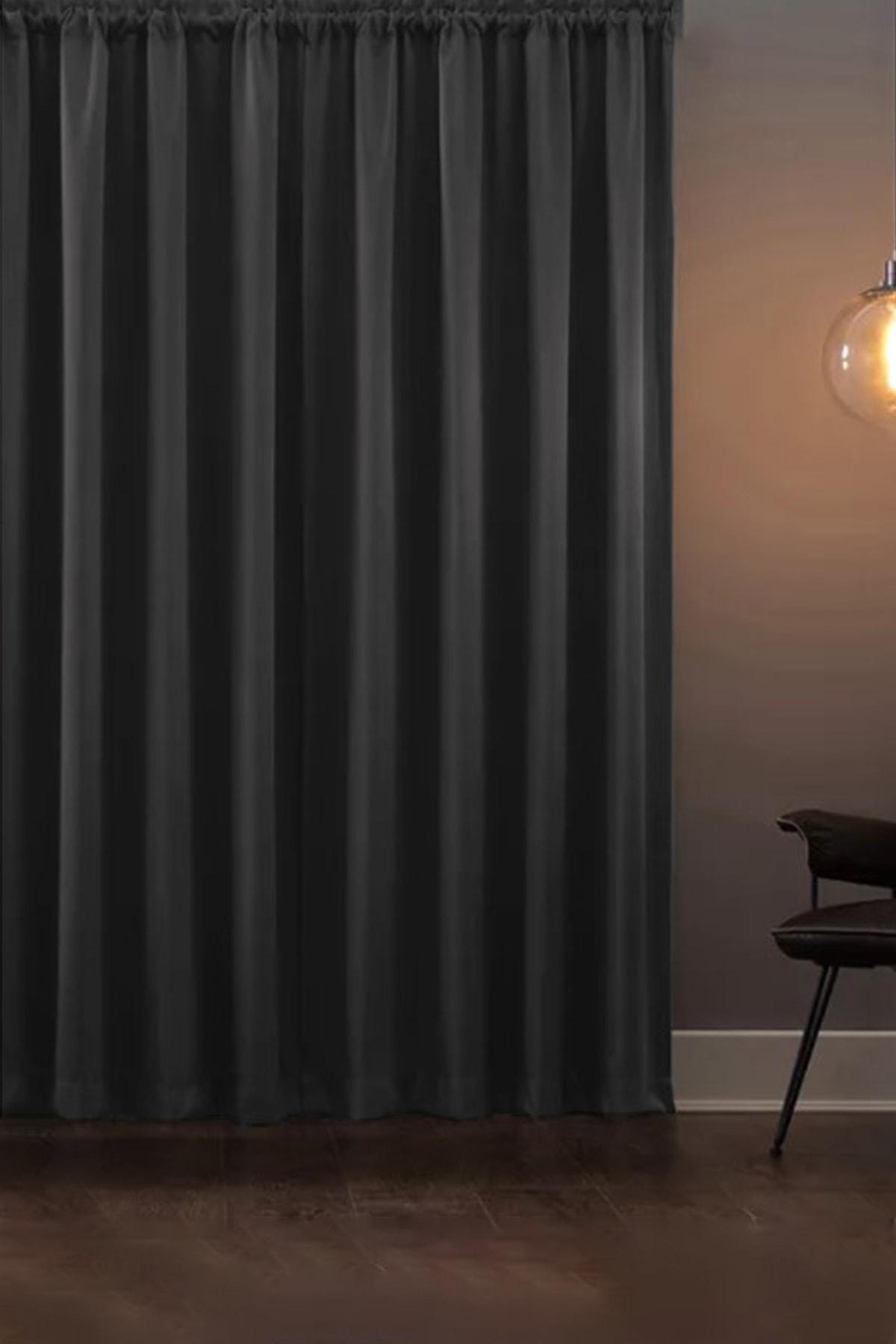 Blackout Işık Geçirmez Fon Perde V-14 Füme Pilesiz Ekstraforlu Karartma Güneşlik