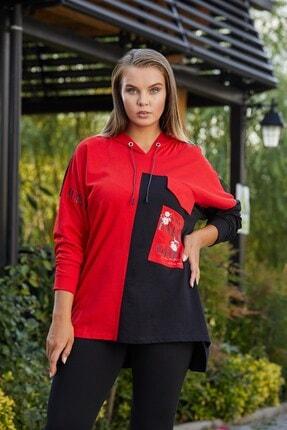 تصویر از Baskılı Ve Garnili Büyük Beden Kırmızı Sweatshirt
