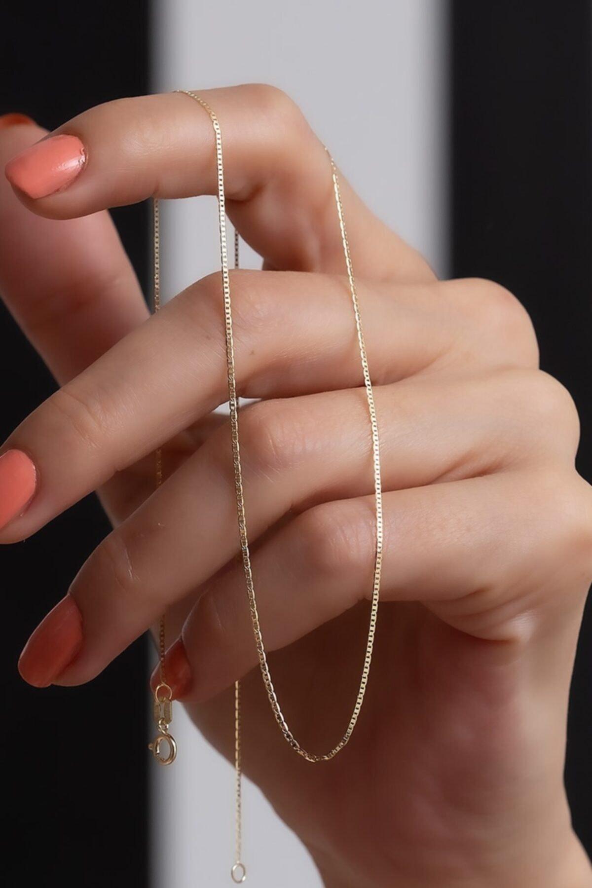 14 Ayar Altın Ince Valentino Zincir Kolye