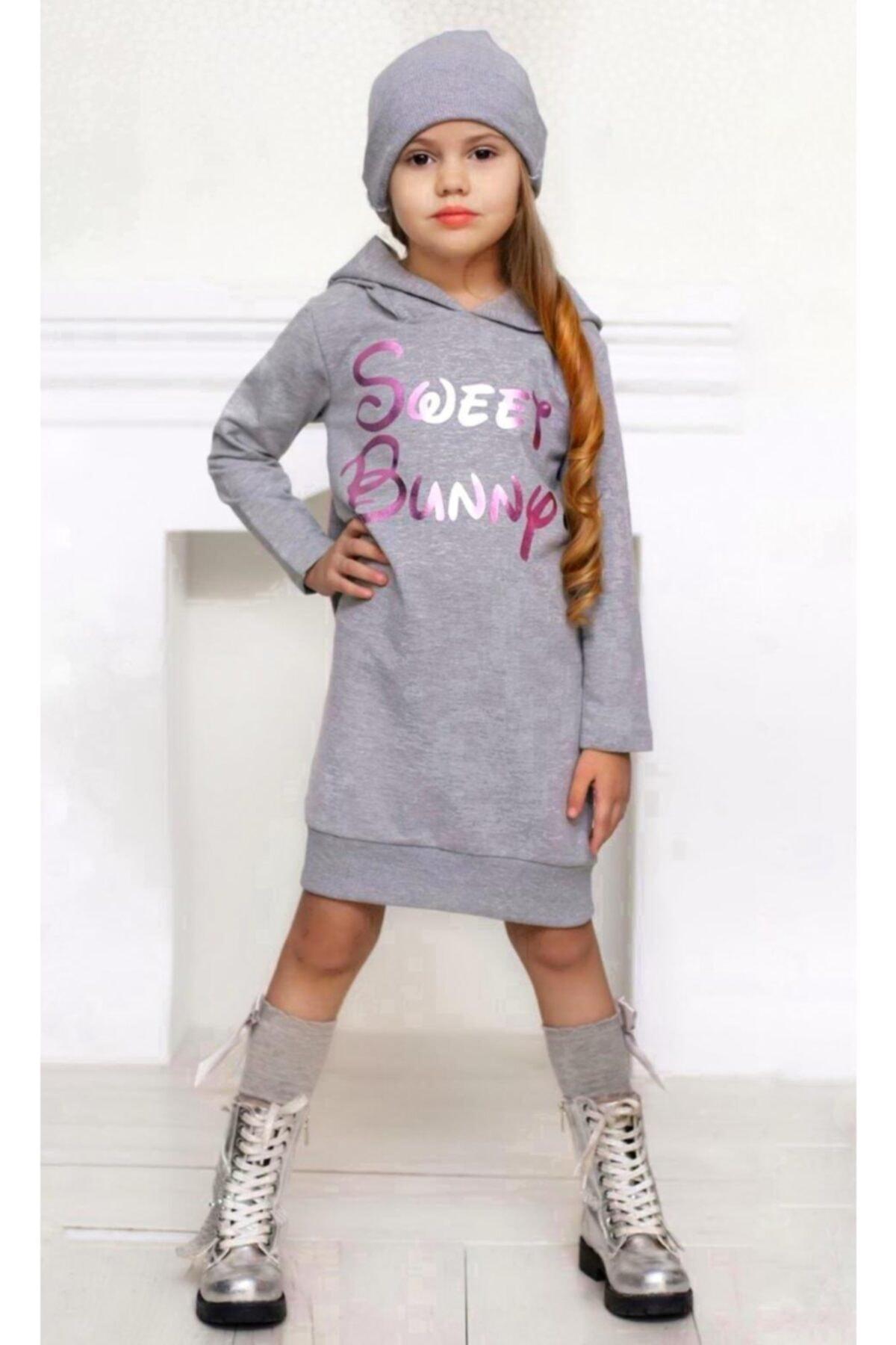 Kız Çocuk Sweet Bunny Tavşan Kulaklı Gri Elbise