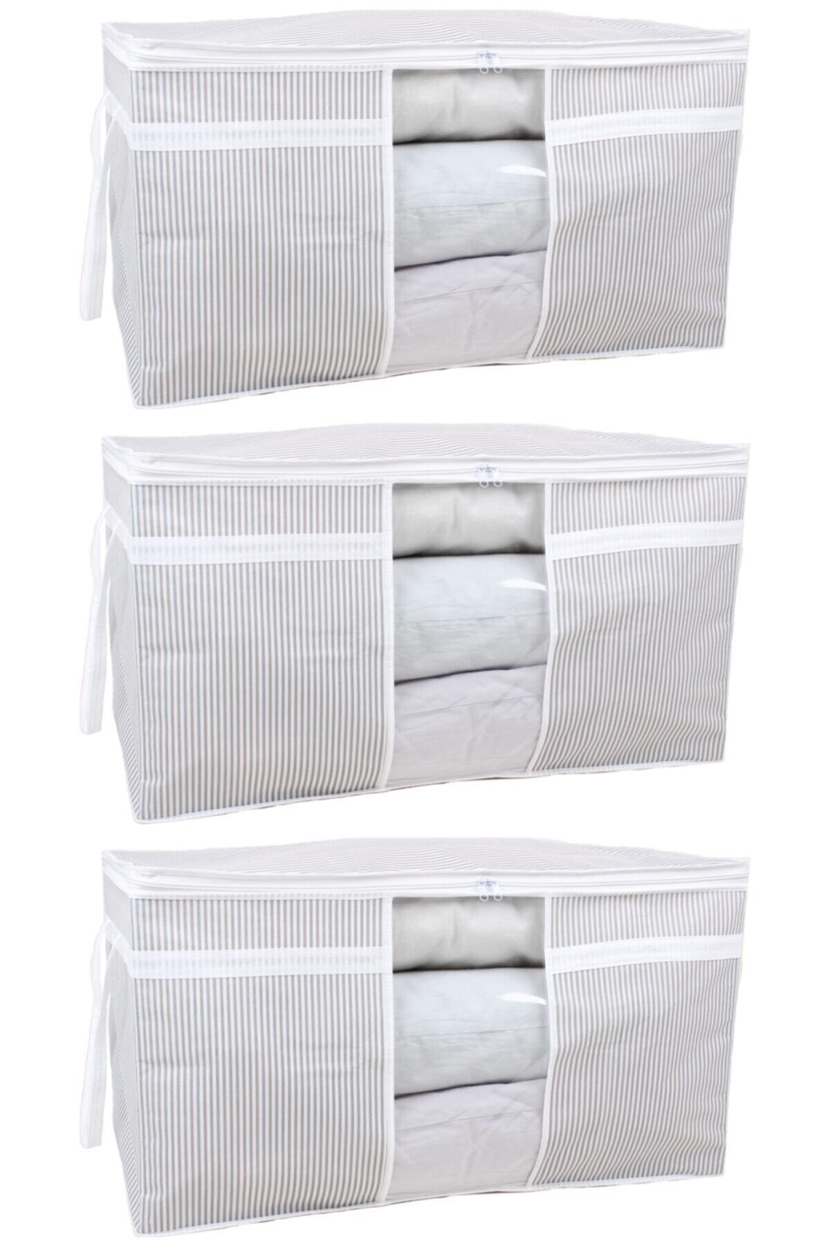 3 Adet - Pencereli Yastık Yorgan Hurcu 75 X 40 X 40 Cm