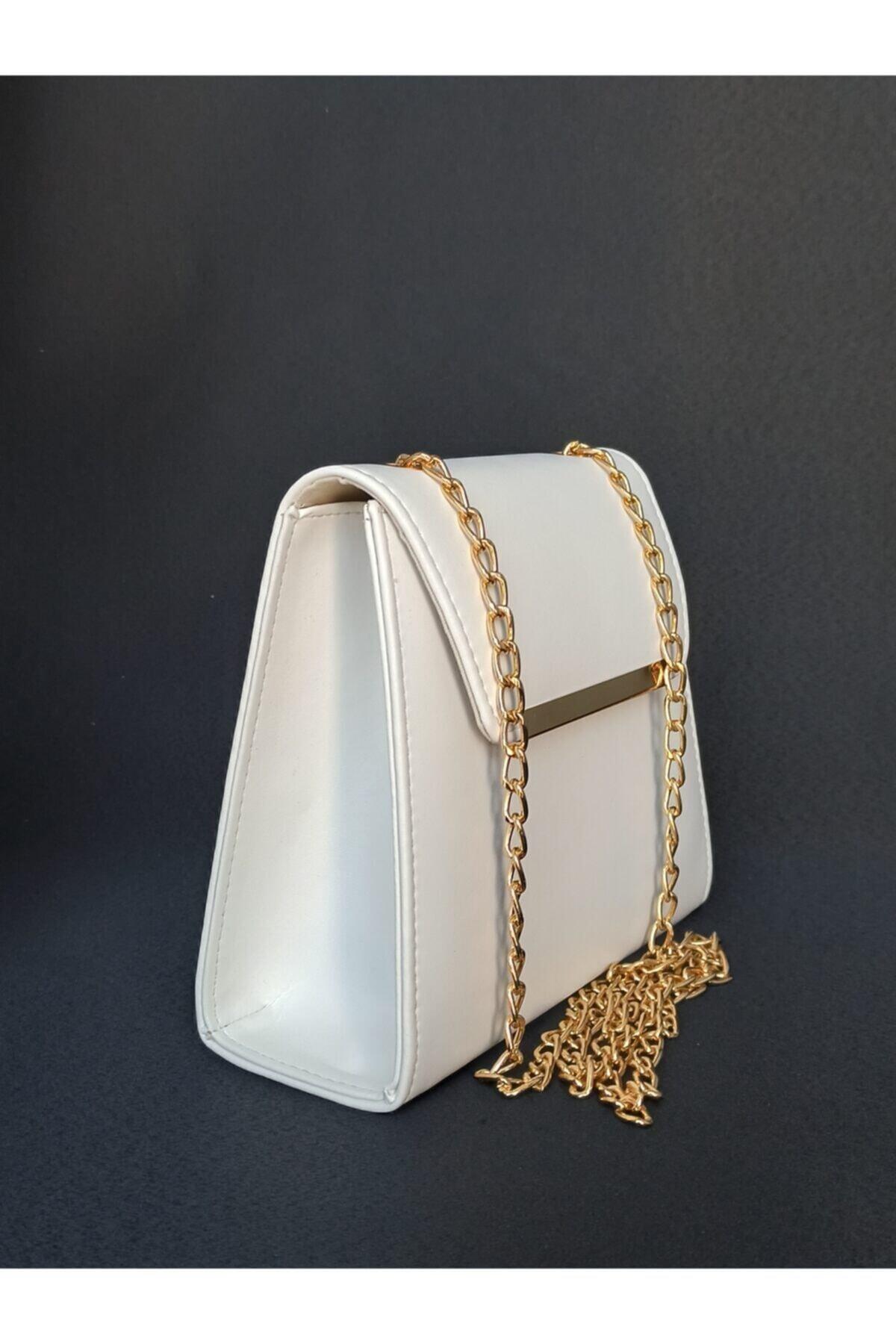 Kadın Beyaz Zincirl Askılı Çanta
