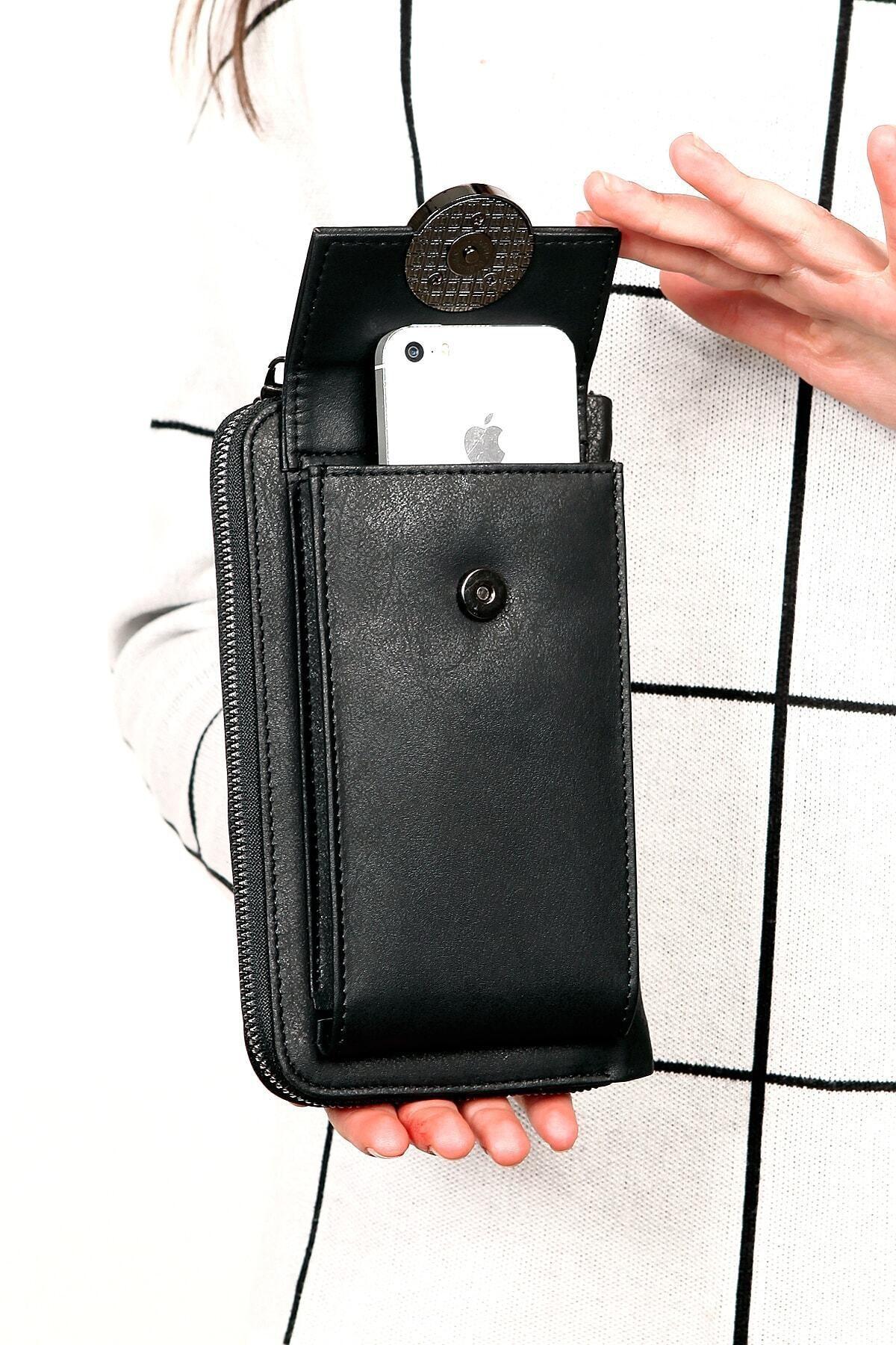 Kadın Siyah Omuz Askılı Telefon Bölmeli Cüzdan Çanta