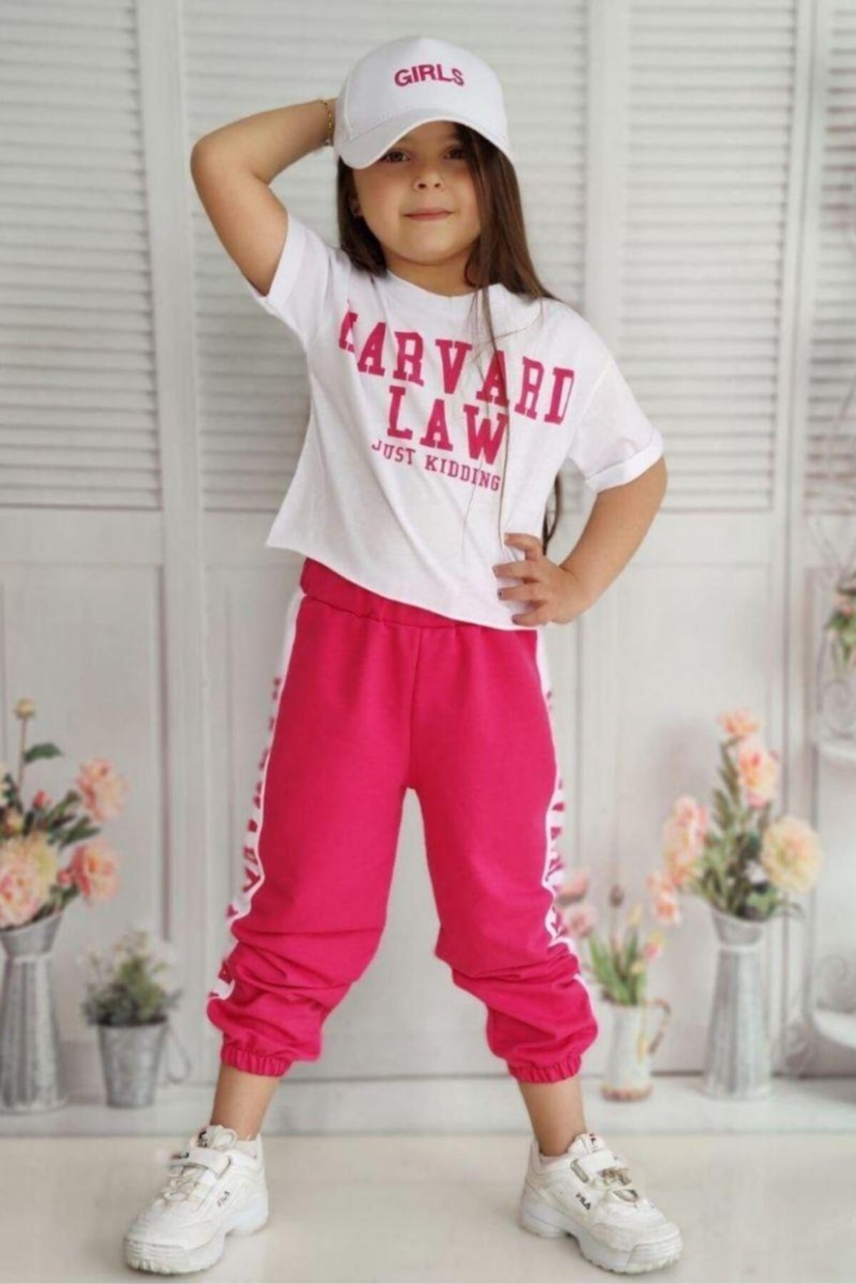 Kız Çocuk Pembe Sports Cap Eşofman Takım
