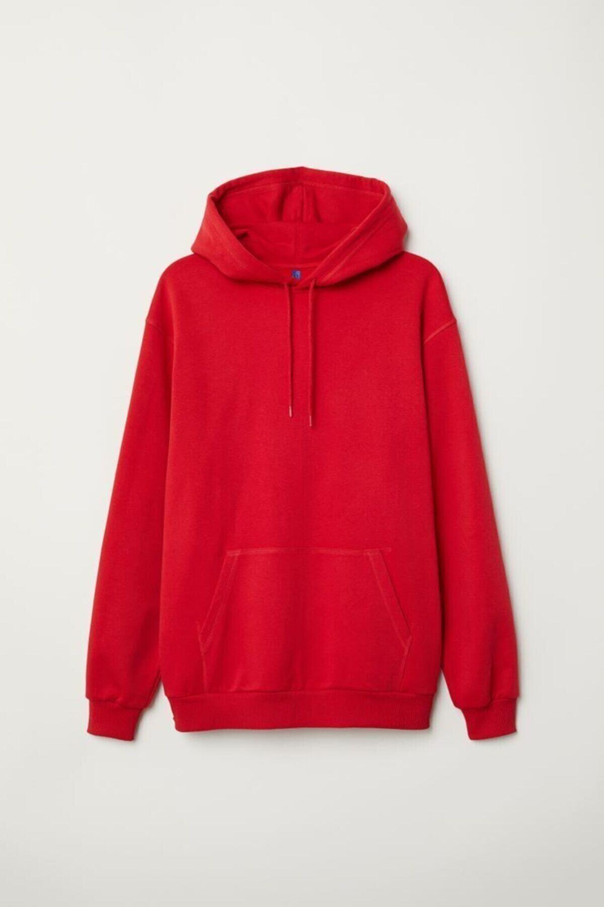 Kırmızı Oversize Unisex Sweatshirt Cepli
