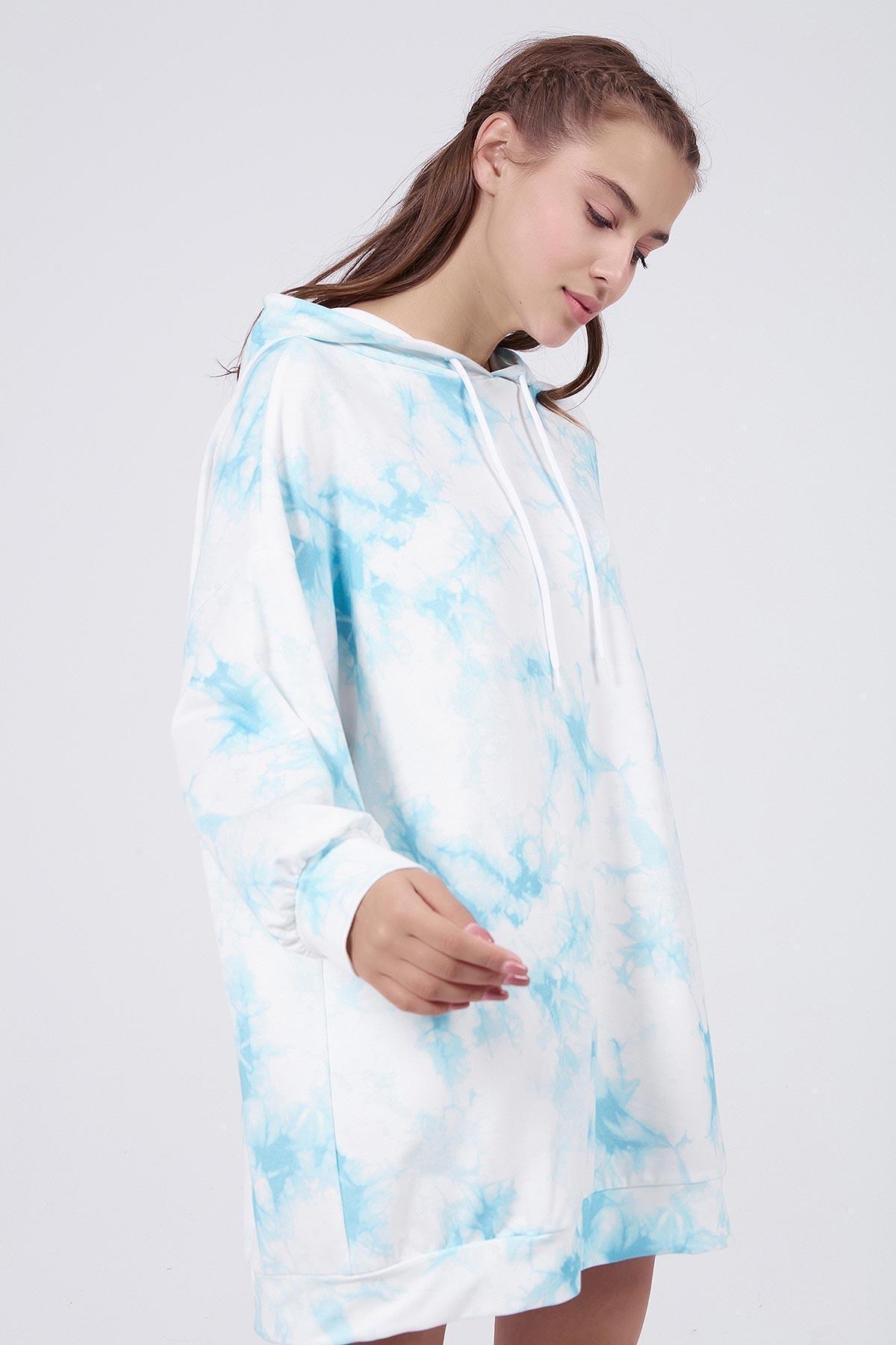 Pattaya Kadın Mavi Batik Desenli Kapşonlu Oversize Sweatshirt Elbise P20W-4145 1