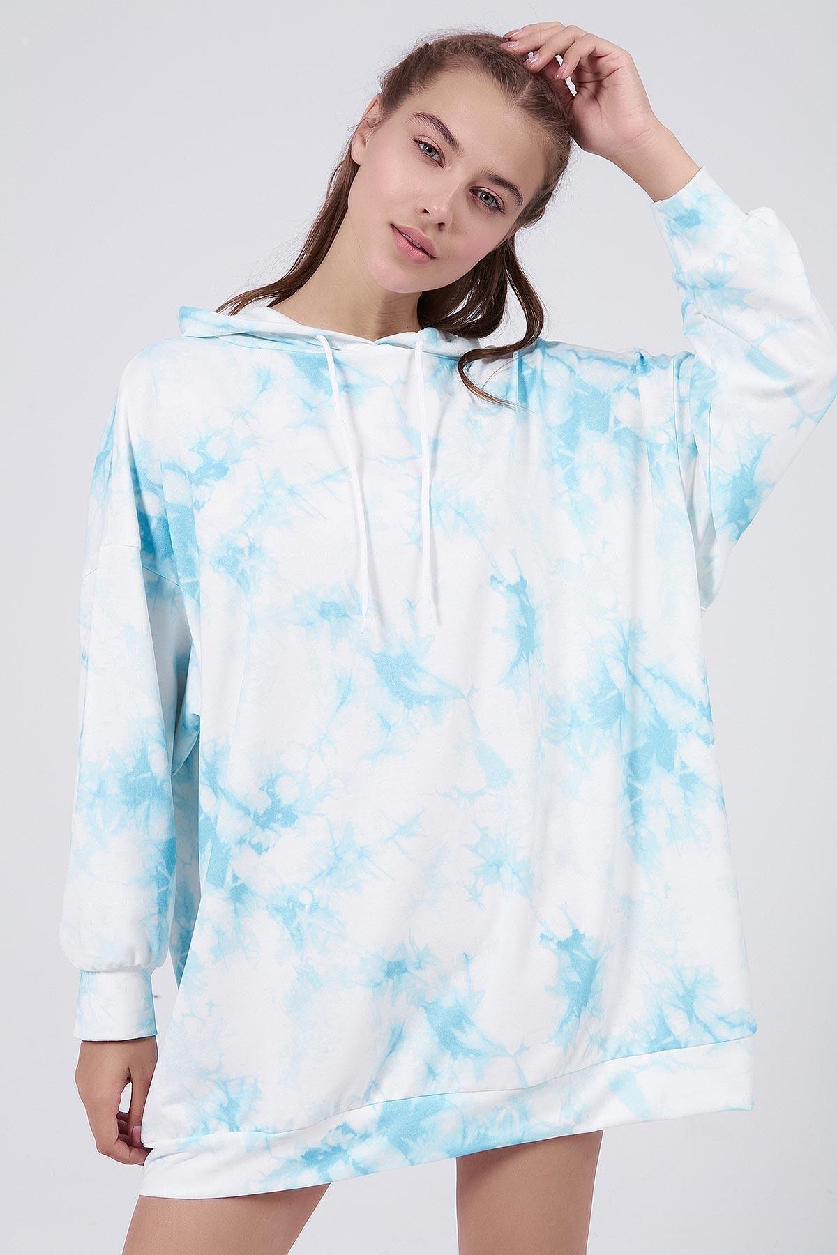 Pattaya Kadın Mavi Batik Desenli Kapşonlu Oversize Sweatshirt Elbise P20W-4145 2