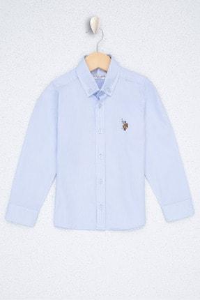 US Polo Assn Mavi Erkek Çocuk Dokuma Gömlek 0