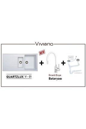 Vıvıano | | 1 Göz Beyaz 50x100 Cm Granit Evye + Batarya 0