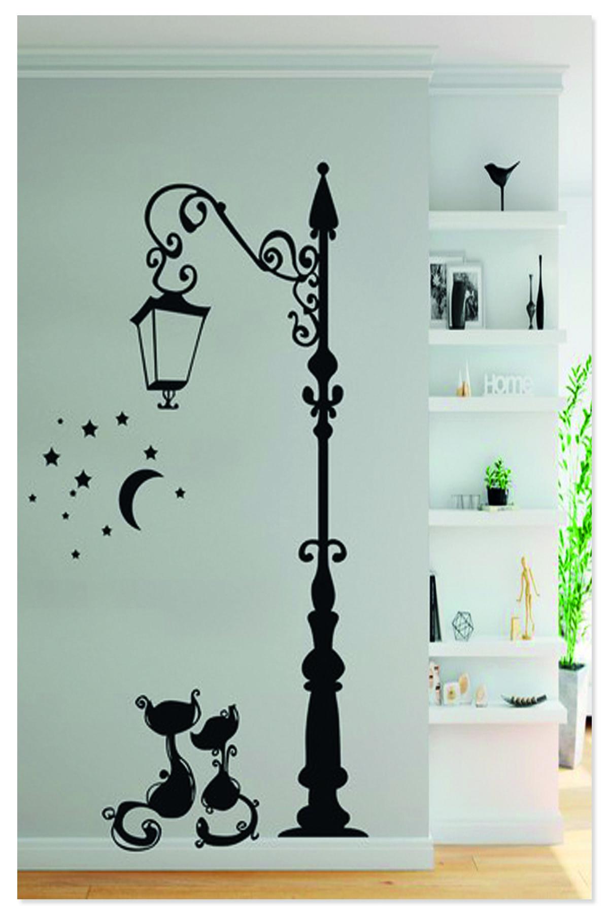 Sokak Lambası Iki Kedi Yıldızlar Ay Işığı Dekoratif Duvar Sticker