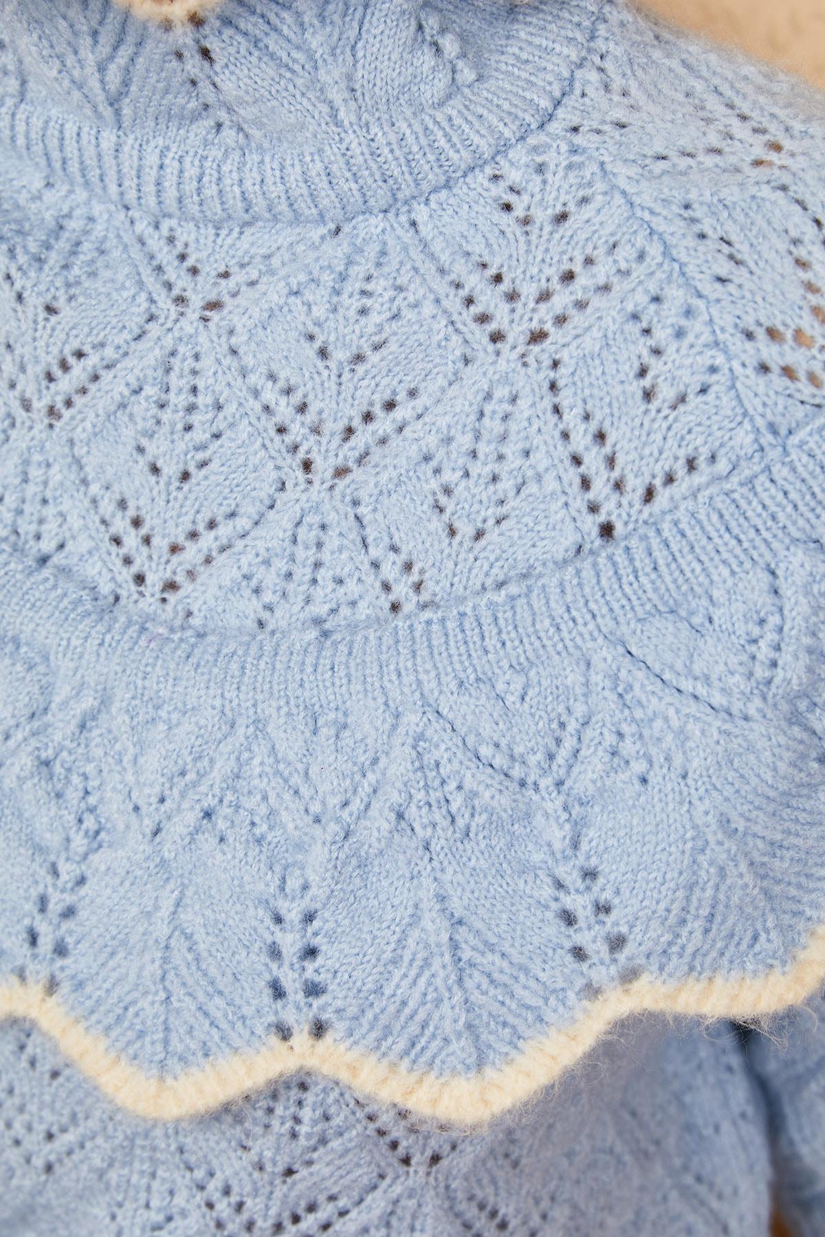 Bianco Lucci Kadın Mavi Ajurlu Fırfırlı Beyaz Şeritli Yarım Balıkçı Triko Kazak 20011034 4
