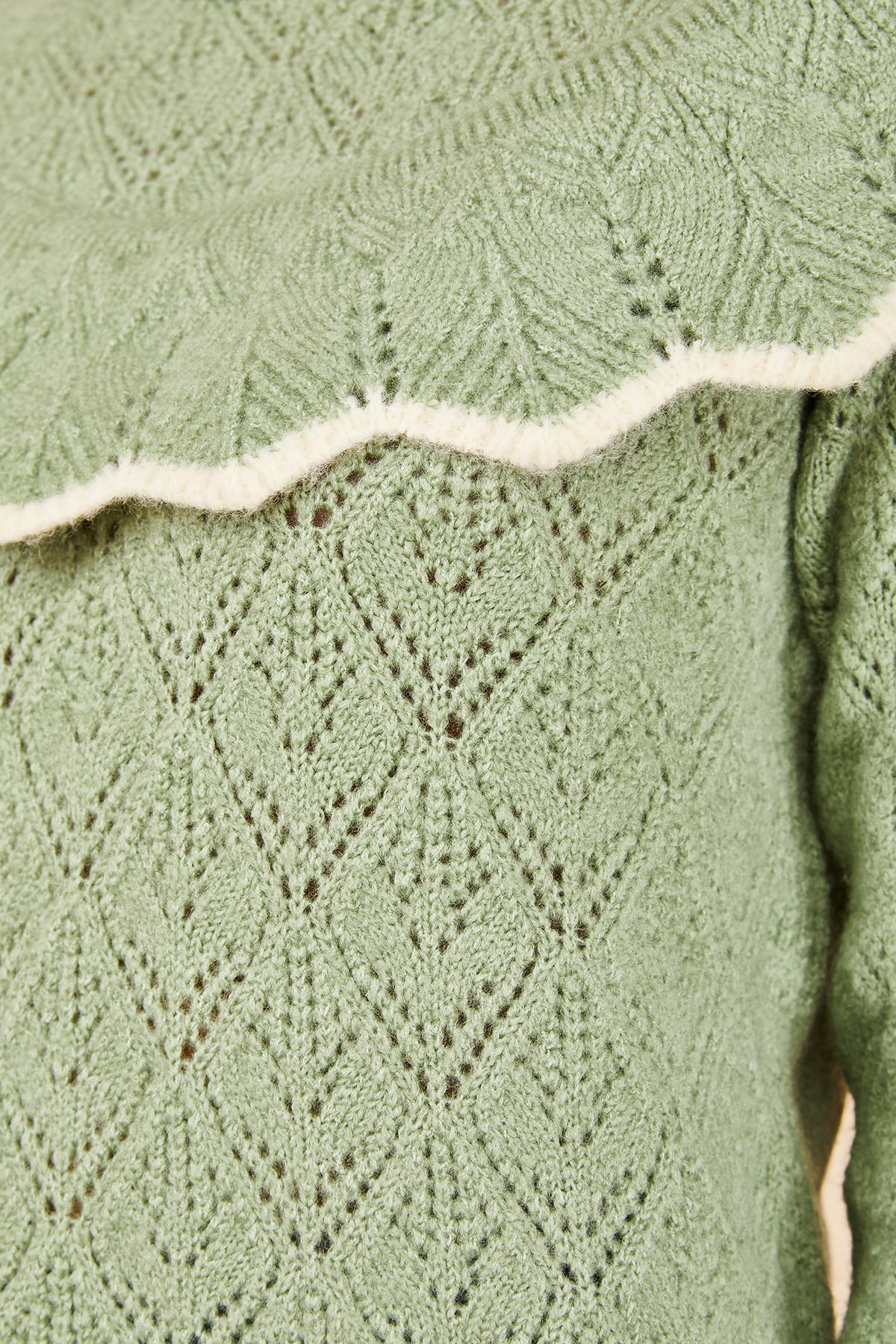 Bianco Lucci Kadın Mint Yeşili Ajurlu Fırfırlı Beyaz Şeritli Yarım Balıkçı Triko Kazak 20011034 4