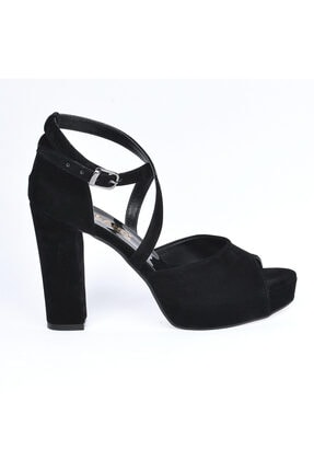 Ayakland 3210-2058 Süet Abiye 11 Cm Platform Topuk Bayan Sandalet Ayakkabı 2